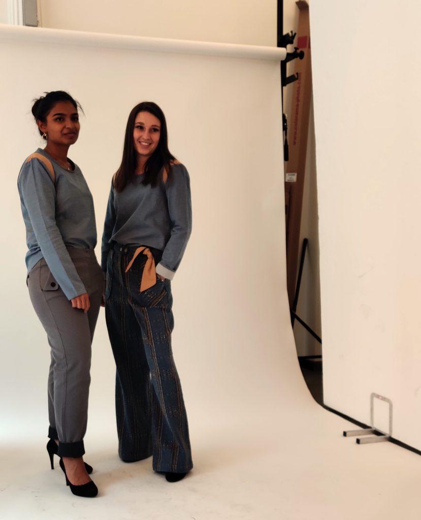 lookbook collection automne/hiver 2019/2020 Amande C : top col rond couleur denim, pantalon cigarette gris, pantalon large à carreaux, ruban pailleté