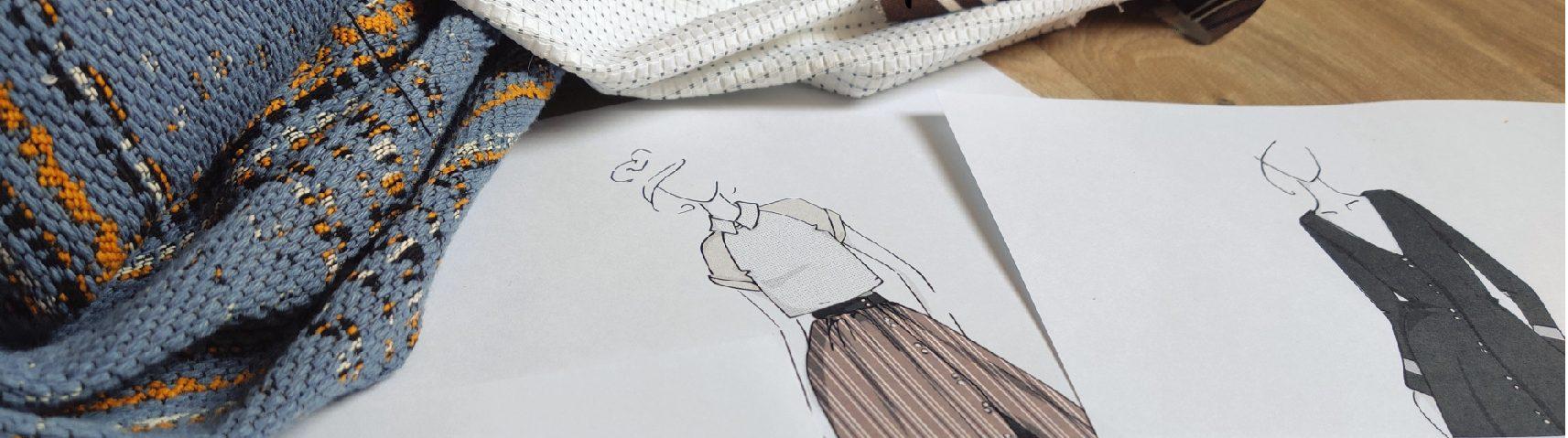 présentation de la marque Amande C: croquis et tissus de la collection