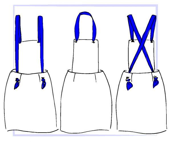 croquis jupe salopette Amande C - Comment porter ses bretelles?