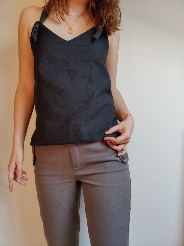 top reverso anthracite/jacquard - anthracite porté avec le pantalon cigarette